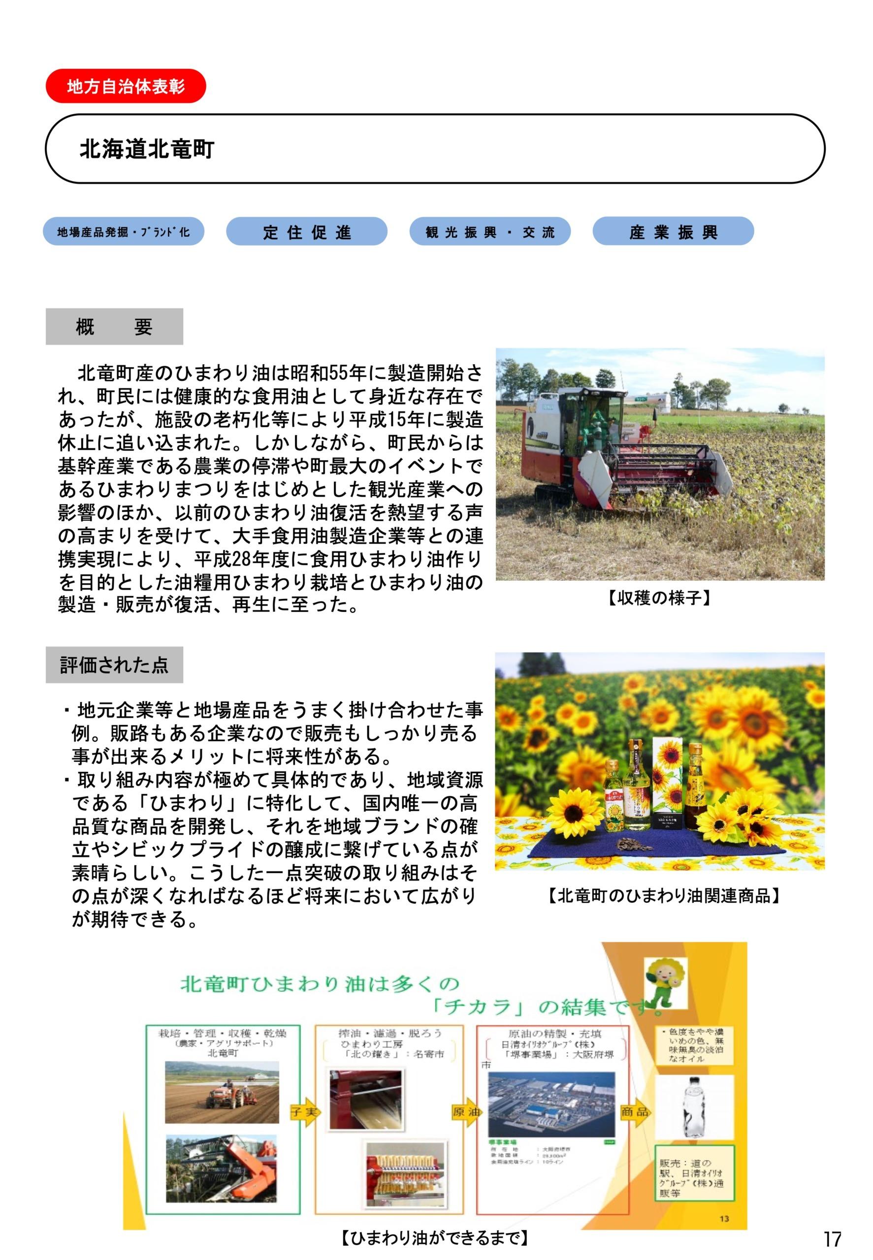 詳細資料(PDF)令和2年度ふるさとづくり大賞受賞・北竜町